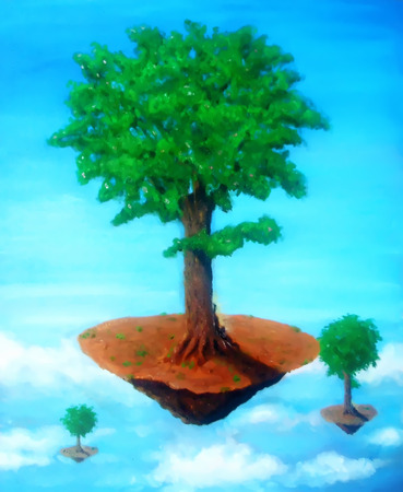 Tree of the Air island with sitting buddha. painting with graphic stylization. Stock Photo