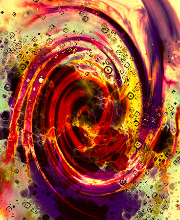 Abstract fire flames and spiral effecton on color background.