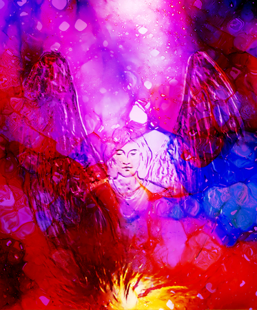 man abstract: Spiritual Angel in cosmic space. Painting and graphic effect.