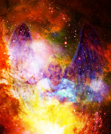 iconography: Spiritual Angel in cosmic space. Painting and graphic effect.