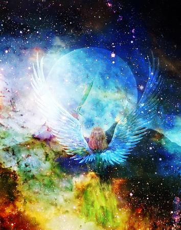 蛇、背景の月と天使持株剣。絵画とグラフィックの効果。 写真素材