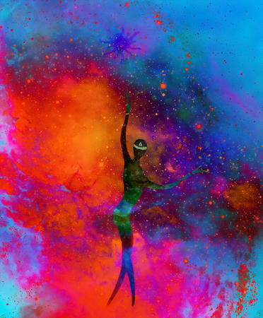 spiritual beings: Spiritual beings in the universe. Painting and graphic effect. Stock Photo
