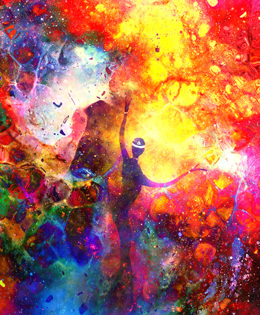 Spiritual beings in the universe. Painting and graphic effect. Stock Photo