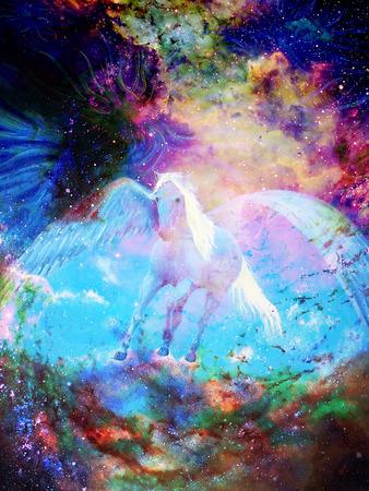 Pegasus dans l'espace cosmique. Peinture et conception graphique. Banque d'images - 72333396