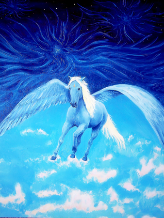 Pegasus in cosmic space. Painting and graphic design. Stock Photo