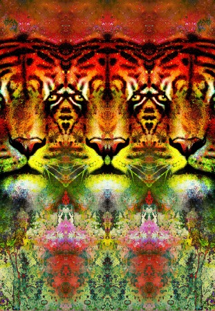 psique: tiger face ornamental collage with repeated features, computer graphic. Foto de archivo