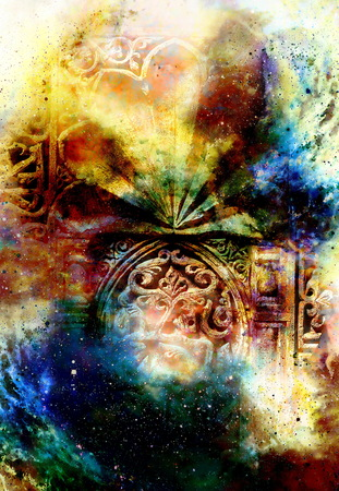 transcendent: gate portal entrance with ornamental structure in cosmic surroundings. Stock Photo