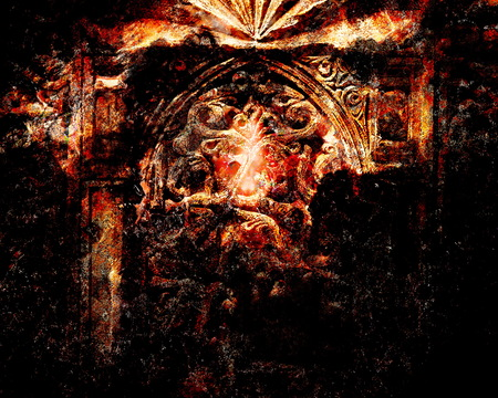 transcendent: Gate portal entrance with ancient ornamental structure, Compter collage. Fire effect.