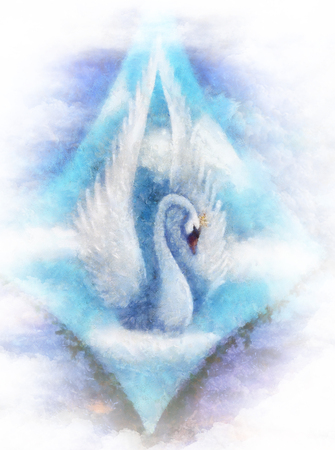 Swan on sky background, Painting and graphic design. Stock Photo