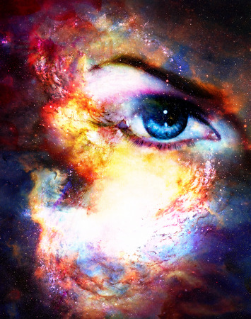beautiful eyes: Woman eye in cosmic background. Painting and graphic design.