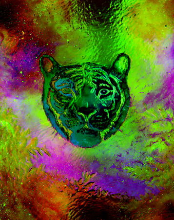 royal safari: head of a young tiger on abstract background with graphic structure effect.