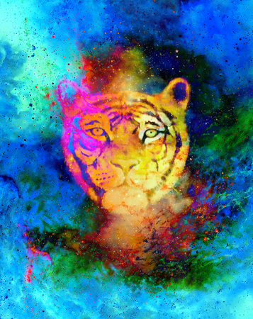 royal safari: head of a young tiger on abstract space background with graphic structure effect.