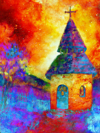 belfry: tiny historic belfry in rural landscape, graphic collage with light and color effect.