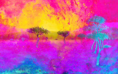 group of trees in vast african landscape, graphic color effect. Stock Photo