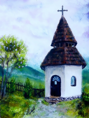 tiny historic belfry in rural landscape, original painting, oil on canvas. Stock Photo