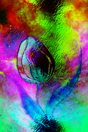 dancing tulip flower motive on abstract background, space collage and glass effect. Stock Photo