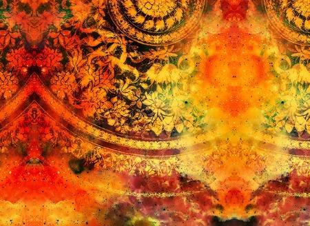 ornamento floreale filigrane a forma di mandala su backgrond cosmica, computer di collage. effetto fuoco. Archivio Fotografico