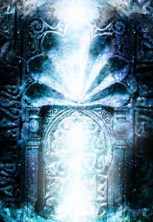 Tor Portal Eingang mit ornamentalen Struktur in der kosmischen Umgebung. Winter-Effekt.