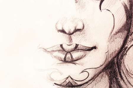 wit: drawing of woman lower lace wit detail of lips and chin with ornaments, on abstract background.