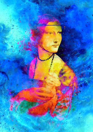 leonardo da vinci: Graphic effect collage of my reproduction of painting Lady with an Ermine by Leonardo da Vinci. Cosmic background.