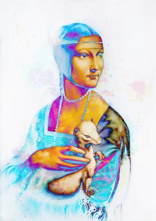Efekt graficzny kolaż mojej reprodukcji obrazu Dama z gronostajem Leonarda da Vinci. Zdjęcie Seryjne