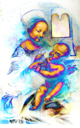 leonardo da vinci: My own reproduction of original painting Madona Benois - Madona and Child with Flowers with graphic effect. Cosmic background.
