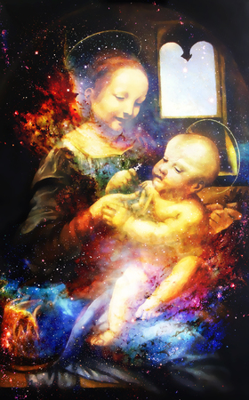 My own reproduction of original painting Madona Benois - Madona and Child with Flowers with graphic effect. Cosmic background.