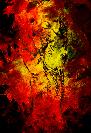 Fist drawing, pencil sketch on paper, Color effect and fire background. Stock Photo