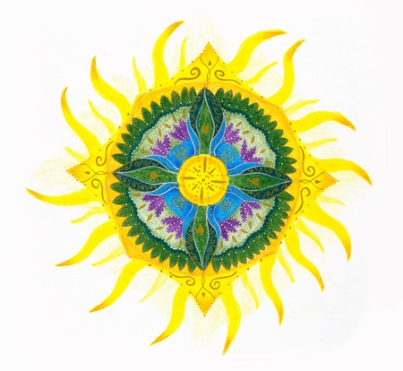 patten: ornamental mandala with solar patten and cross on white background.