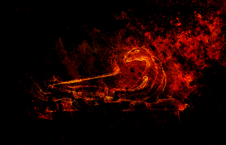 smell of burning: dragon shape incense sticks holder on abstract background. Stock Photo