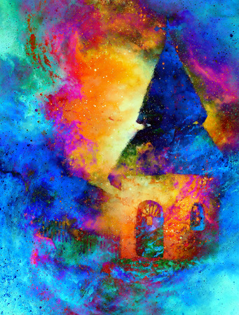belfry: mystical belfry with lights of space, graphic collage from painting. Stock Photo