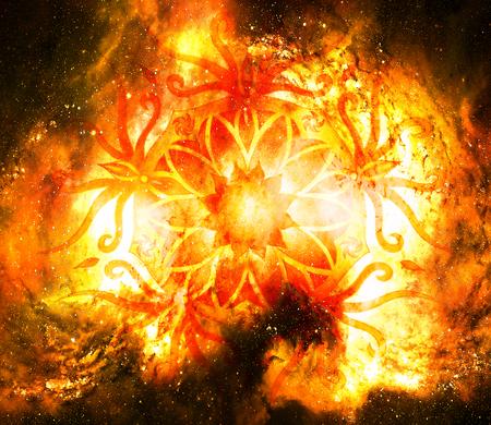 heart chakra red: Ornamental mandala in cosmic space, Root Chakra. Stock Photo