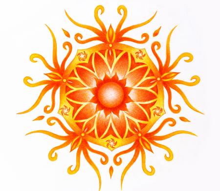 sacral: color ornamental mandala on white paper background. Sacral Chakra. Stock Photo