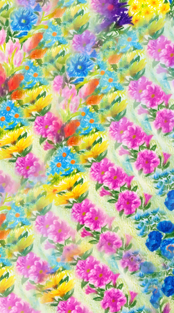 pattern: wild meadow flowers pattern, colorful pencil drawing.
