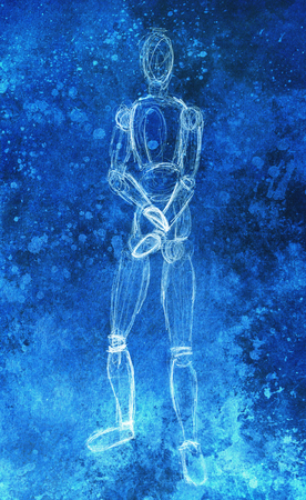 pasteboard: sketch of wooden posable drawing figure for artists on abstract background.