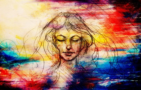 drawing of beautiful contemplative woman face on abstract background. Stock Photo