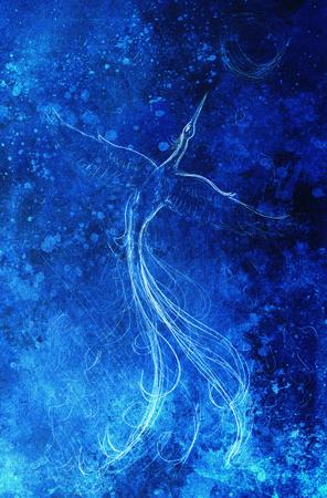 Opstand phoenix vogel vliegen, tekening op abstracte kleurrijke achtergrond.