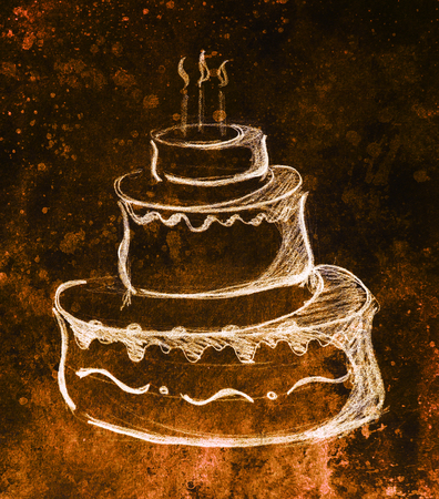 fire and ice: Big torte on paper background and color effect. hand drawn picture sketch. Stock Photo
