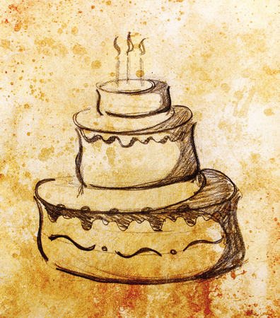 Big torte on paper background and color effect. hand drawn picture sketch. Stock Photo