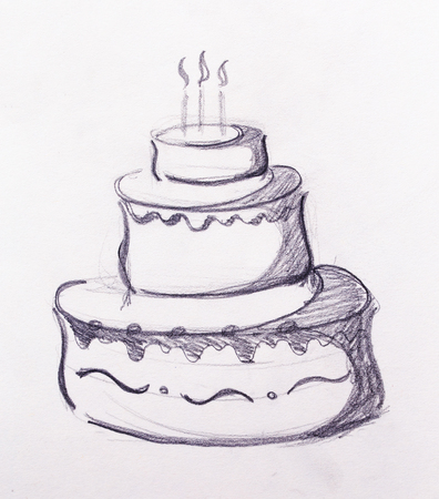 Big torte on white paper background. hand drawn picture sketch.