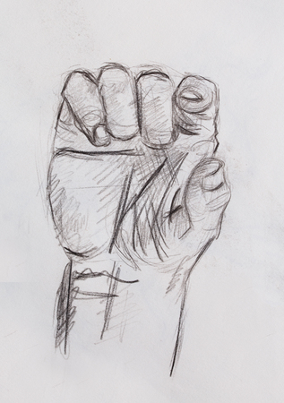 hand holding paper: Drawing hand, pencil sketch on old paper.