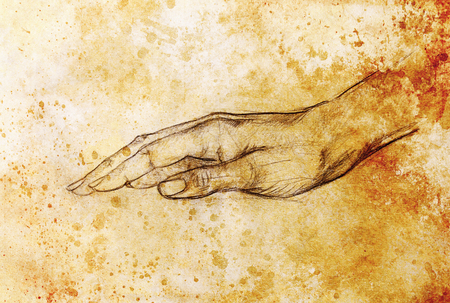 hand holding paper: Drawing hand, pencil sketch on paper, sepia and vintage effect. Stock Photo