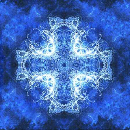 Ornamental mandala. Original hand draw and computer collage. Blue color structure. Winter effect.