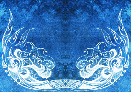 oriental rug: Ornamental Drawing. Original hand draw and computer collage. Color structure. Blue color structure.
