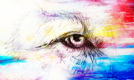 undomesticated: lion eye. animal drawing on vintage paper. Color effect.