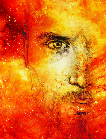 Mystic man. Pencil drawing in Cosmic space. Stock Photo