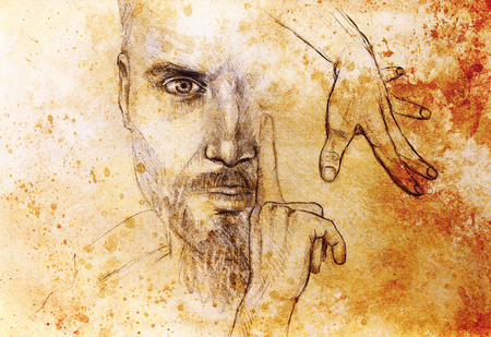 Mystic man and hands. pencil drawing on old paper. Color effect.