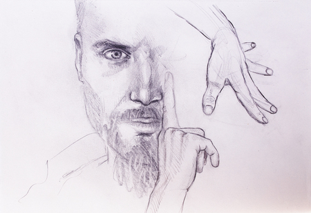 hypnotizing: Mystic man and hands. pencil drawing on old paper.