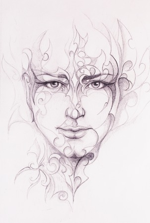 Mystic man face and ornament. pencil drawing on old paper. Stock Photo