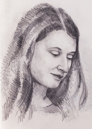 Portrait beautiful woman. pencil drawing on old paper. Stock Photo - 76058210